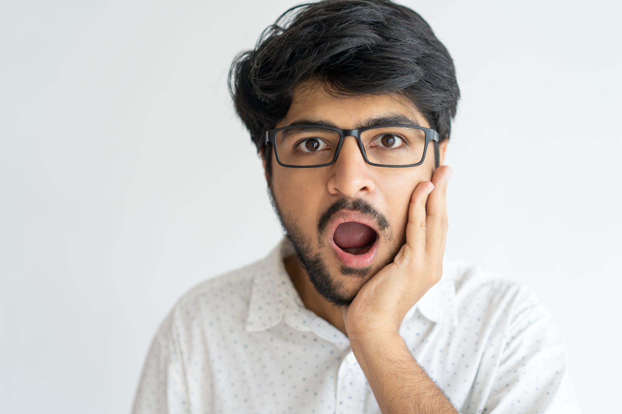Shocked man with open mouth