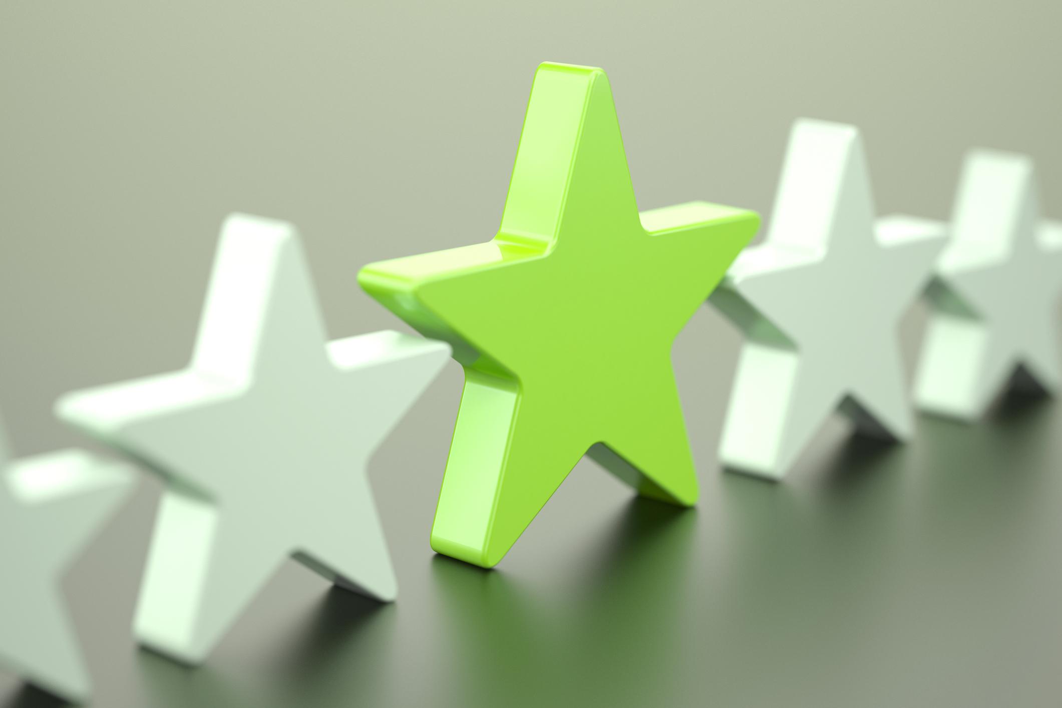 Green and white stars