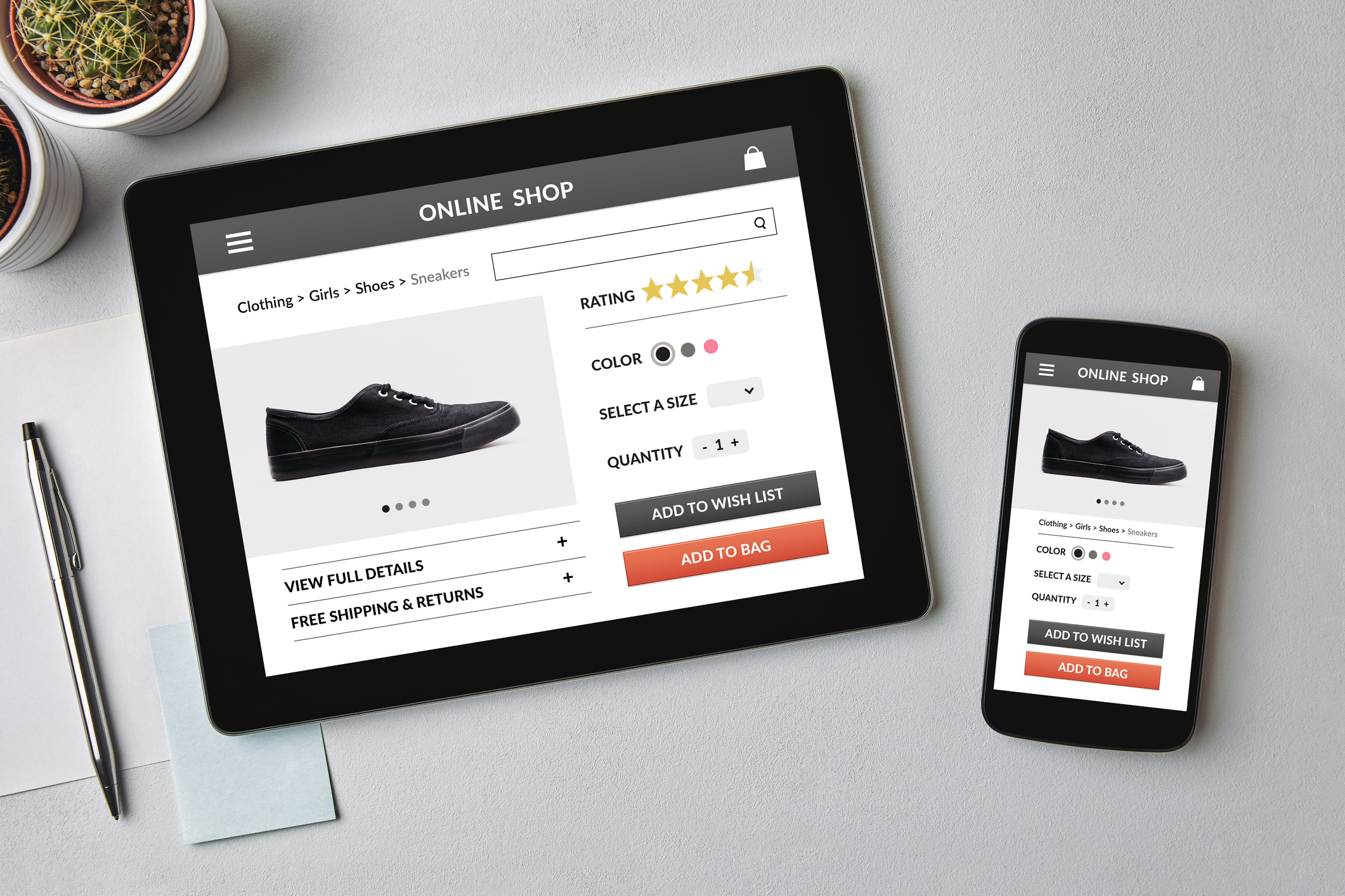 Online shop concept on tablet and smartphone