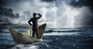 Man on money boat going into a storm