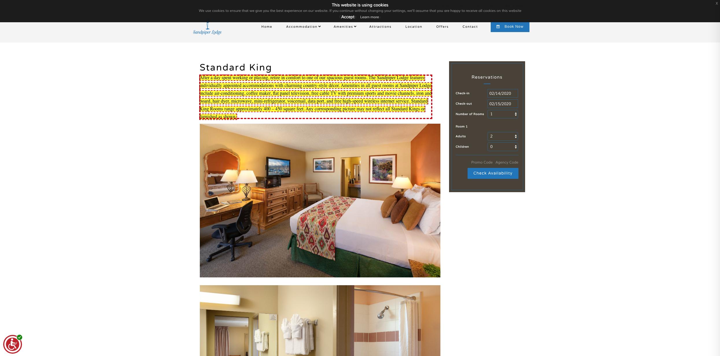 hotel website screen reader