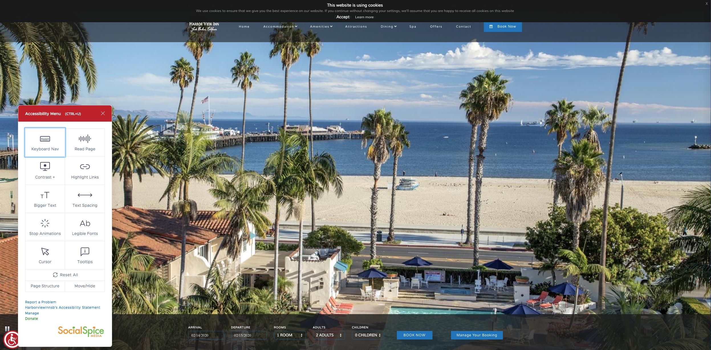 website with ADA toolbar