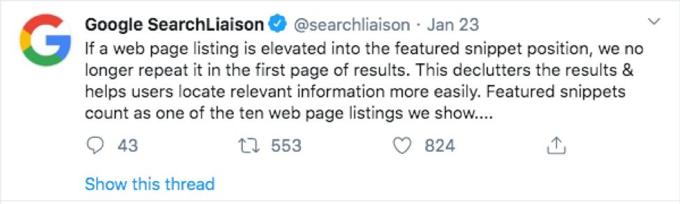 screenshot of a google post